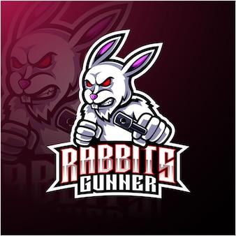 Logotipo de mascote de coelho esport