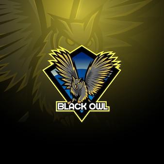 Logotipo de mascote de coruja de pássaro noturno