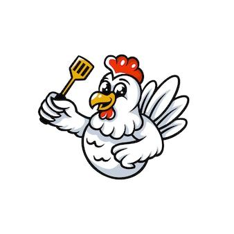 Logotipo de mascote de cozinha de frango