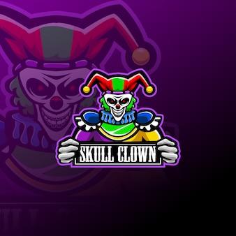 Logotipo de mascote de crânio palhaço esport