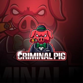 Logotipo de mascote de criminal pig esport