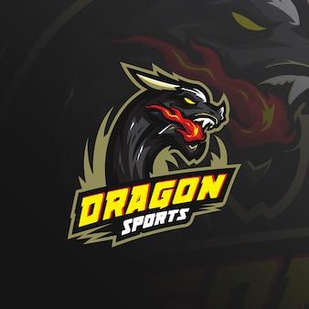 Logotipo de mascote de dragão com ilustração moderna