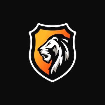 Logotipo de mascote de escudo de leão.