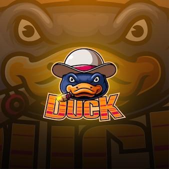 Logotipo de mascote de esport de pato