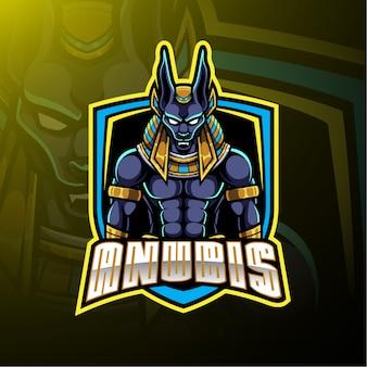Logotipo de mascote de esporte de anubis