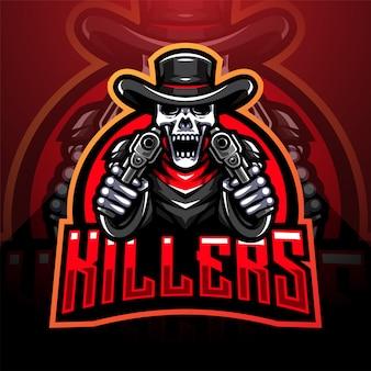 Logotipo de mascote de esporte de artilheiros de crânio