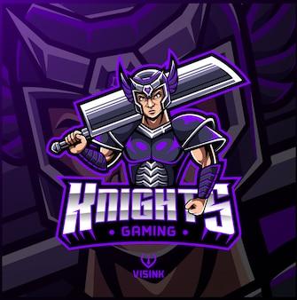 Logotipo de mascote de esporte de cavaleiro
