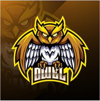 Logotipo de mascote de esporte de coruja