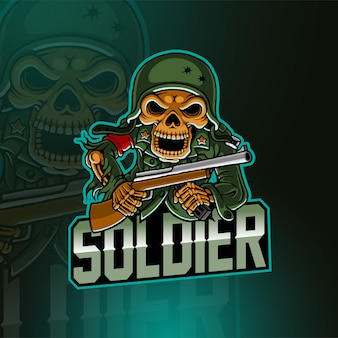 Logotipo de mascote de esporte de exército de crânio