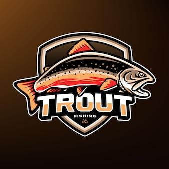 Logotipo de mascote de esporte de pesca de truta