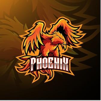 Logotipo de mascote de esporte de phoenix
