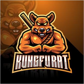 Logotipo de mascote de esporte de rato de kung fu