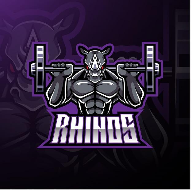 Logotipo de mascote de esporte de rinoceronte