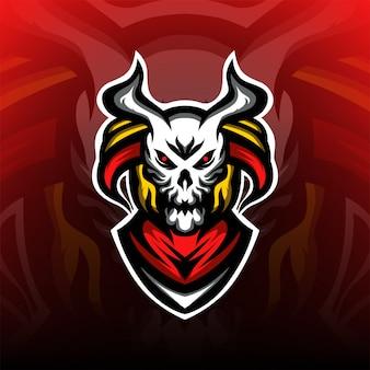 Logotipo de mascote de esporte de tropa de caçador de crânio