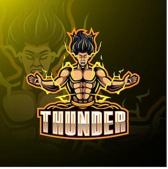 Logotipo de mascote de esporte de trovão
