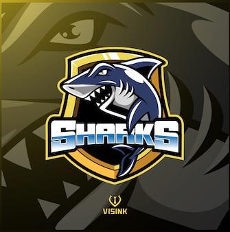 Logotipo de mascote de esporte de tubarão