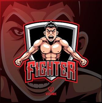 Logotipo de mascote de esporte lutador
