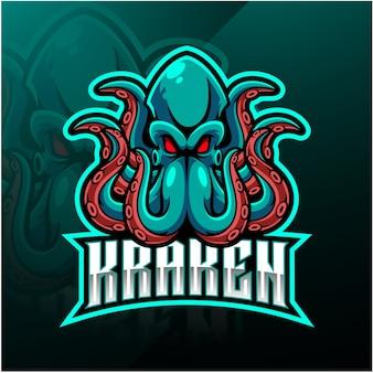 Logotipo de mascote de esporte polvo kraken