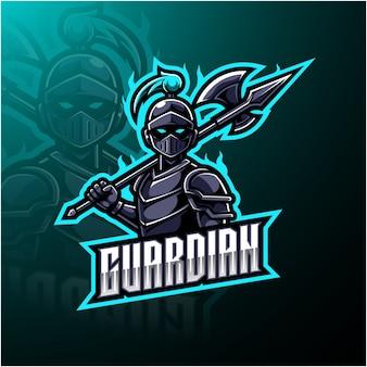 Logotipo de mascote de esports guardião