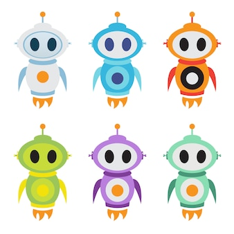 Logotipo de mascote de foguete robô. personagem de robô bonitinho. ilustração