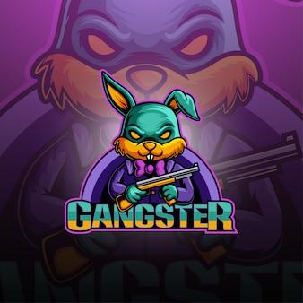 Logotipo de mascote de gangster bunny esport