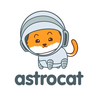 Logotipo de mascote de gato de astronauta dos desenhos animados