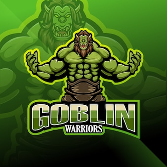 Logotipo de mascote de goblin warrior esport