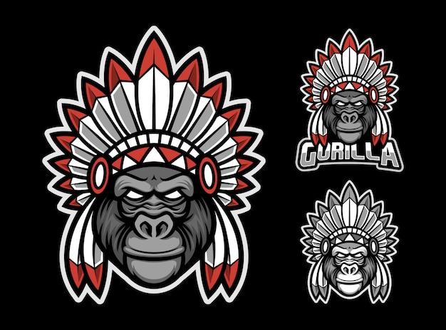 Logotipo de mascote de gorila apache esport