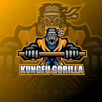 Logotipo de mascote de gorila de kung fu
