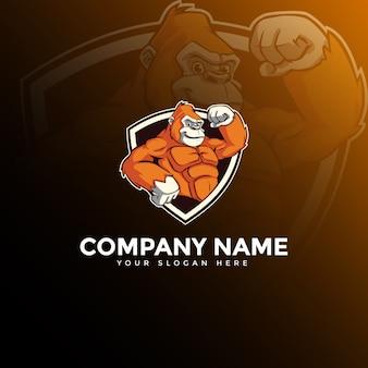 Logotipo de mascote de gorila e-sport
