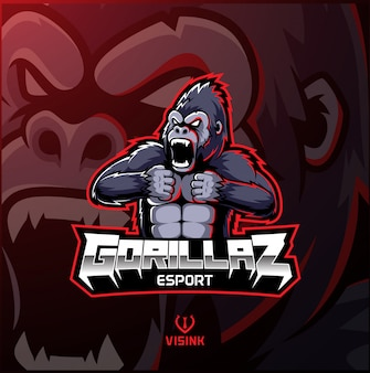 Logotipo de mascote de gorila zangado desain