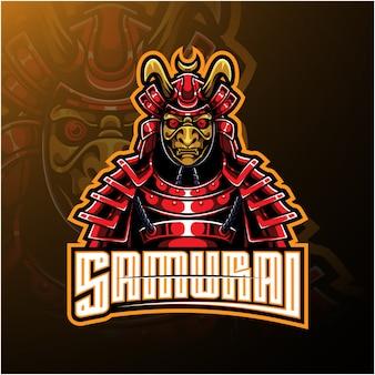 Logotipo de mascote de guerreiro samurai