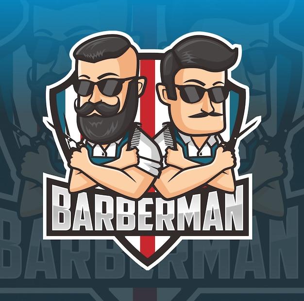 Logotipo de mascote de homem barbeiro