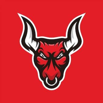 Logotipo de mascote de ilustração de touro