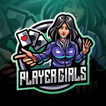 Logotipo de mascote de jogador meninas esport