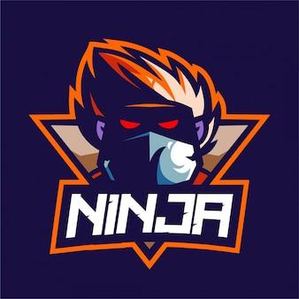 Logotipo de mascote de jogador ninja