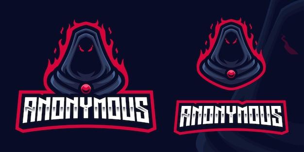 Logotipo de mascote de jogos anônimo para esports streamer e comunidade