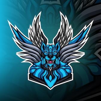 Logotipo de mascote de jogos do céu cão comandante