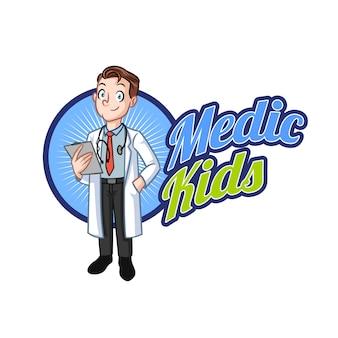 Logotipo de mascote de médico de criança