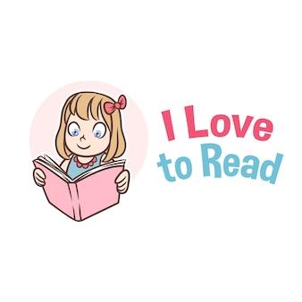 Logotipo de mascote de menina de livro de leitura