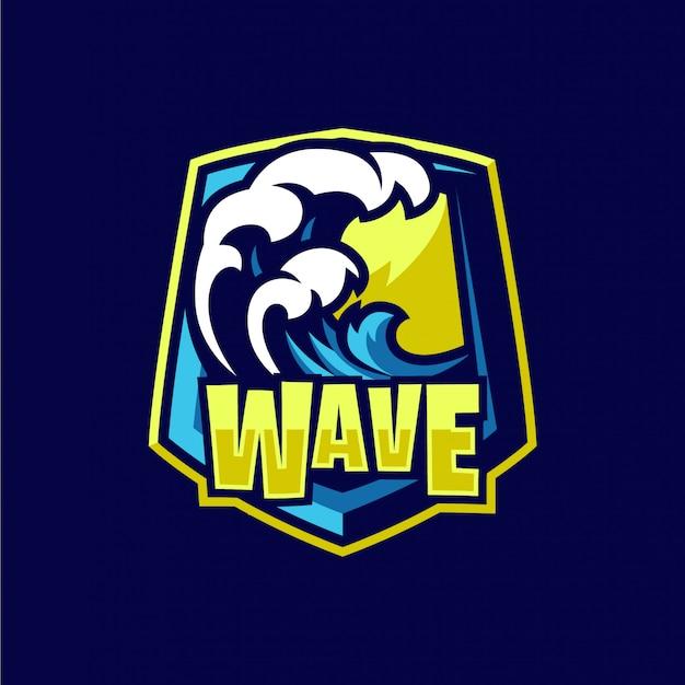 Logotipo de mascote de ondas