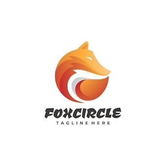 Logotipo de mascote de pele de cabeça de raposa gradiente