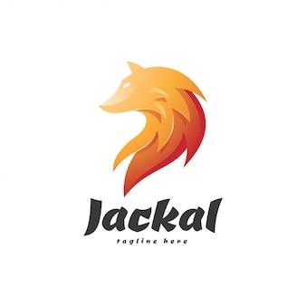 Logotipo de mascote de pele de chacal de lobo de cor gradiente