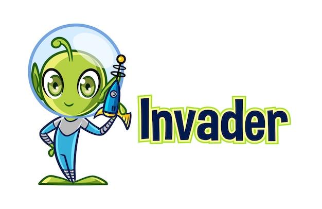 Logotipo de mascote de personagem alienígena bonito dos desenhos animados