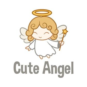 Logotipo de mascote de personagem de anjo bonito dos desenhos animados