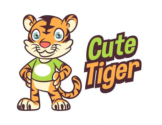Logotipo de mascote de personagem de tigre amigável bonito dos desenhos animados