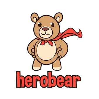 Logotipo de mascote de personagem de urso recheado de desenhos animados