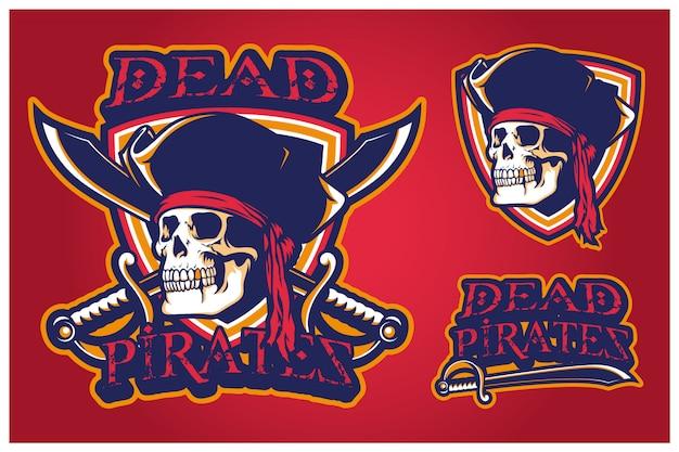 Logotipo de mascote de piratas mortos e-sport