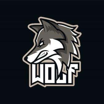 Logotipo de mascote de predador de lobo cinzento e-sport