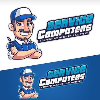 Logotipo de mascote de reparador de serviço de computador